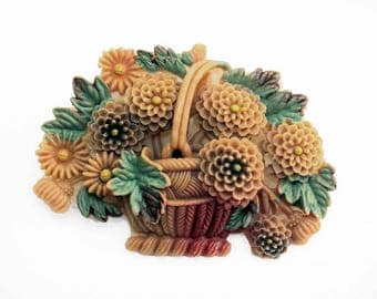 Beautiful and Ornate Vintage 1930s-40s Celluloid Flower Basket Brooch