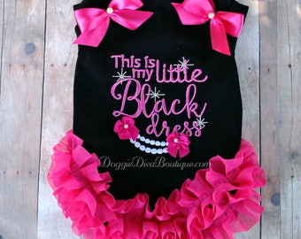 Dog T Shirt, Black Dress, Embroidery Embroidered Dog Shirt, XS, Small, Medium, with or without bows or ruffles