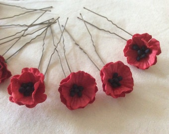 Hair Pins x 8 Red Poppies. Bridal, Wedding, Bridesmaid, Prom. Remeberance.