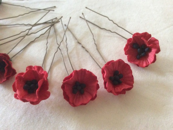 Hairpins x 8 Red Poppies. Bridal, Wedding, Bridesmaid, Prom. Remeberance.