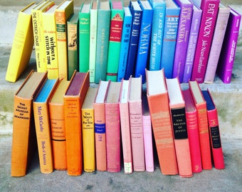 Vintage Books by the Foot Instant Library Decorative Book Stack 25 Custom Rainbow Books for Wedding, Bookshelves , Display Etc.