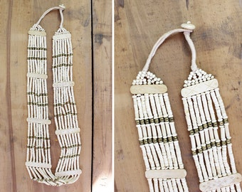 Long Beaded Necklace • Beaded Bib Necklace • Vintage Necklace • White Beaded Necklace • Grunge Necklace • Long Beaded Boho Necklace | N291