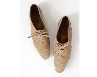 Suede Leather Oxfords 7 • 70s Shoes • Lace Up Shoes • 60s Shoes • Suede Shoes • Oxford Shoes Women  | SH384