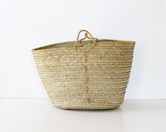 Round Market Bag • Straw Market Bag • Straw Purse • Straw Tote • Market Tote Bag • Straw Market Tote • 90s Bag | B865