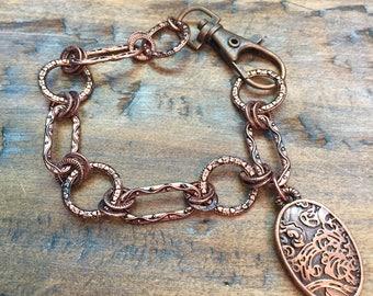 Reversible decorative copper bracelet