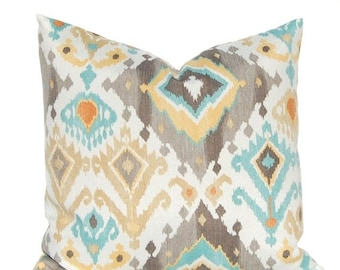 30% Off Sale One Outdoor Pillow Cover - Taupe and Aqua Ikat - Patio Seating Cushion Cover - Designer 100 Percent Polyester Fabric - Choose f