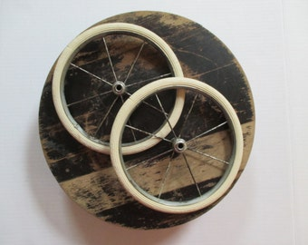 Vintage Metal Spoke Wheels - Two in Lot - Cream Color Rubber Rim - Shabby, Cottage, Industrial Decor - Assemblage Art