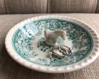 Antique dish ring dish   Assemblage jewelry storage   Repurpose ring tray