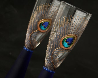 Peacock Glasses, Champagne Flutes, Wine Glasses, Wedding Glasses, Hand Painted, Set of 2