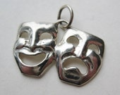 Vintage Sterling Silver Comedy Tragedy Theater Actor Actress Mask Necklace Pendant Charm