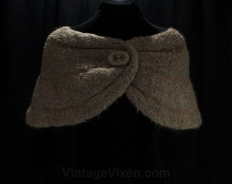 1950s Fluffy Mocha Knit Wrap - Soft Mohair Wool Shrug - 50s 60s Light Brown Shoulder Shawl - Autumn - Bombshell Style - Any Size - 47393
