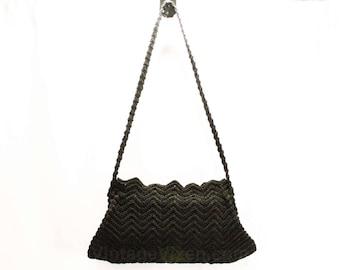 1930s Black Corde Shoulder Bag - 30s Rayon Purse - Deco 30's 40's Glamour Girl - Depression Era Handbag - Zig Zag Sawtooth Trim - 48101