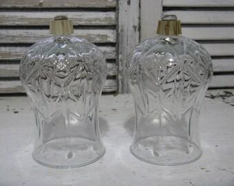vintage  clear glass votives pressed glass larger size  peg votive all over pattern