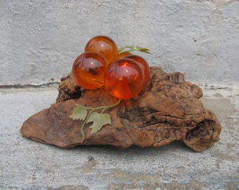 mid century lucite grapes on driftwood amber lucite grapes coffee table decor