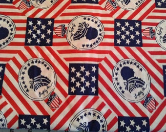 Patriotic Print Quilting Cotton Fabric 3 3/4 Yards X0825 Red, White, Blue American Flag