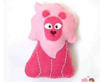 Pink lion plushie, lion Steven Universe, Crystal Jems, Steven's pet lion, lion plush, steven universe lion