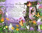 Photo Fairy Woodland Party, Photo Birthday Invitation, Fairy Woodland Party