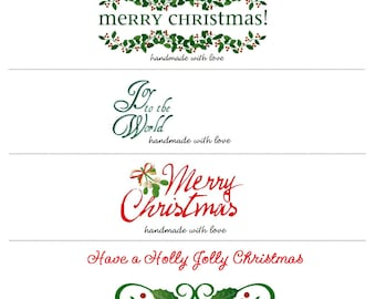 Printable Christmas Cochet Landscape Labels Wraps for dish cloths, wash cloths, baby items, scarf PDF Personalized