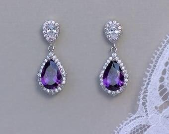 Purple Crystal Earrings, Bridal Earrings, Amethyst Teardrop Earrings, Lilac Earrings,  Lavender Crystal Jewelry, LAYLA