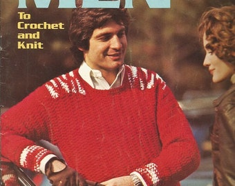 """Vintage Columbia-Minerva  """"Sweaters for Men"""" Knit and Crochet Leafllet"""