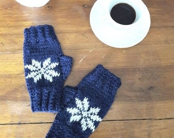 Winter gloves knit fingerless mittens in BLUE wool for women