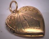 Antique Gold Heart Locket Necklace Vintage Victorian Floral 1920