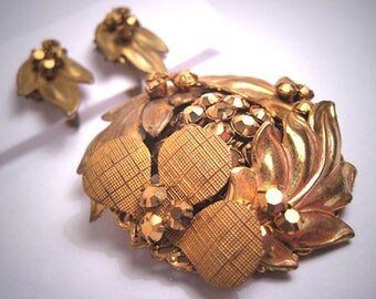 Rare Early Miriam Haskell Gold Rhinestone Russian Gold Gilt Brooch Pin and Earrings Set Vintage 1940-50's Designer