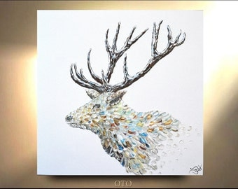 NEW Stag Painting on Canvas Decor Art Oil Original Artworks Male Elk Deer Wild animal Abstract illustration Artist by OTO