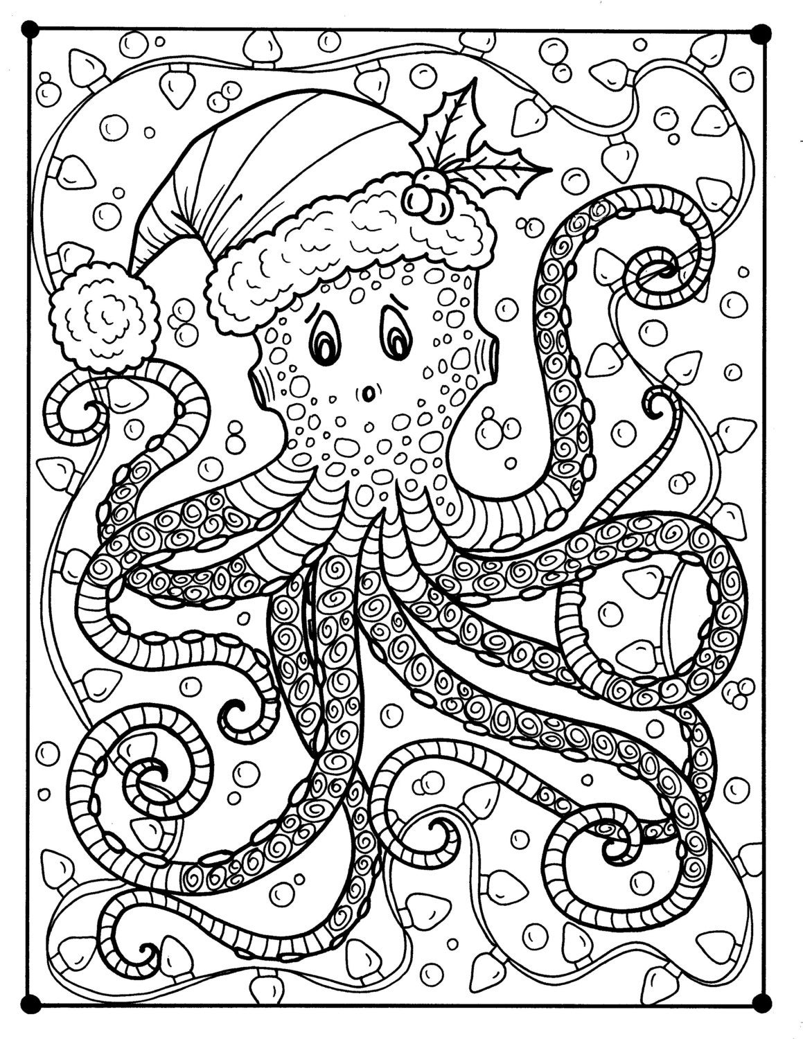 octopus christmas coloring page color holidays beach
