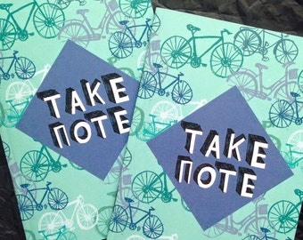 Take Note / To Do quirky illustrated pocket A6 notebook - bikes / cyclist pattern - stocking filler /stuffer