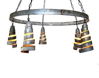 "BAJAN - ""Curvilinear"" - Wine Barrel Ring Chandelier - 100% RECYCLED"
