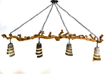 "OLD VINE - ""Trebbiano"" -  Grapevine and Wine Barrel Ring Pendant Light Chandelier - 100% Recycled"