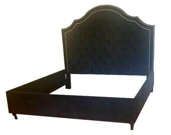 custom upholstered beds curated finds by harrismarkshome on etsy. Black Bedroom Furniture Sets. Home Design Ideas