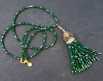 Ethnic Turkish Tassel Necklace Sparkly Emerald Green Statement Gypsy Hippie Bohemian Artisan - One Of A Kind