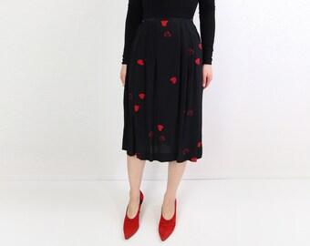 VINTAGE Valentines Skirt Hearts Red Silk