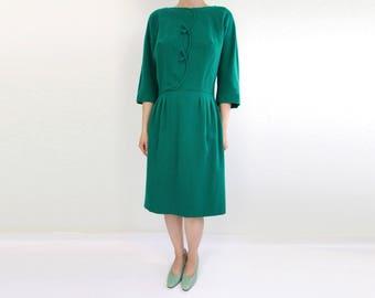 VINTAGE 1950s Green Dress Wool