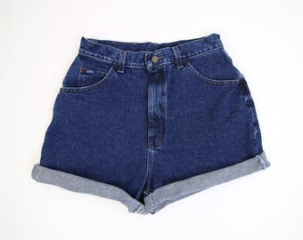 VINTAGE Lee Denim Shorts 1990s Jean Shorts Dark Blue