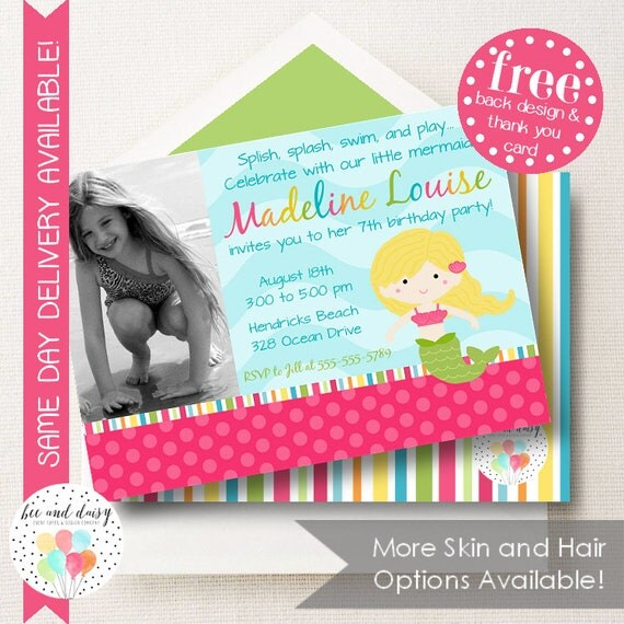 Mermaid Invitation For Girls Birthday Party Printable Invite Kids First Invitations Photo Invites BeeAndDaisy