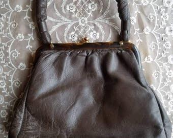 Vintage Jane Shilton Brown Genuine Leather Purse Pocketbook Handbag Bag Made in England