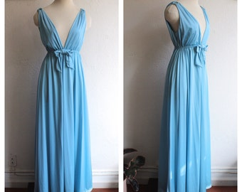 Gorgeous 1970s Baby Blue Plunging V-Neckline Maxi Night Gown with Cut Out Circles at Shoulders
