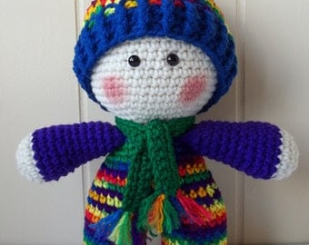 Crochet Rainbow Doll, National Pride March, LGBT March 2017, Crochet Doll, Amigurumi Doll, Rainbow Baby Doll, Big Head Plushie, Kawaii Doll,