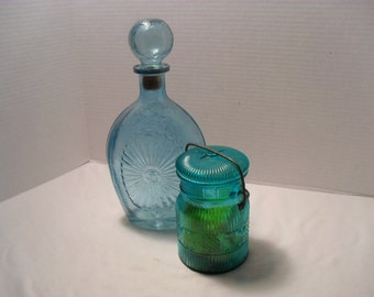 Lot of 2 Blue Glass Decorative Pieces Glass Bottle and Glass Wire Lid Jar with Soap