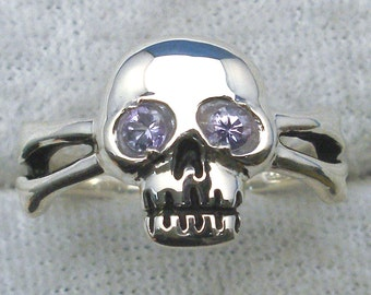 Tanzanite Eyes, Skull and Cross Bones Ring, Hand Crafted Recycled Sterling Silver Pirate Ring, purple blue violet Jolly Roger, human skull