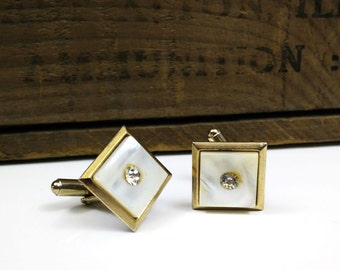 Vintage Mother of Pearl Rhinestone Cuff Links