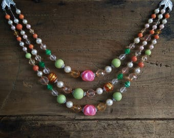 Colorful Vintage Necklace / Pink Orange Green 3 strand molded bead jewelry