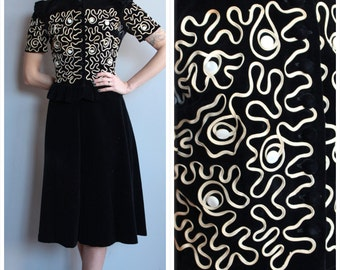 1940s 2pc Set // Soutache Velvet Jacket & Skirt // vintage 40s 2 pc set