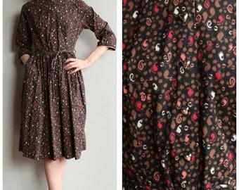 1950s Dress // Heart & Paisley Dress // vintage 50s dress