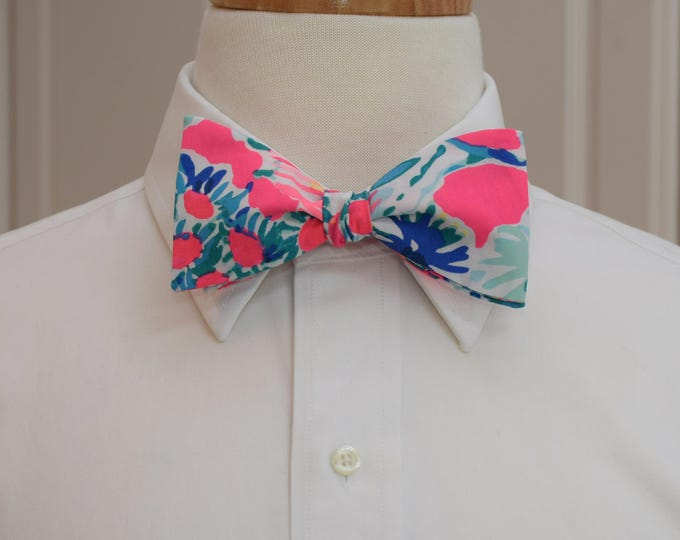 Men's Bow Tie, Gypsea, neon tiki pink/blues Lilly bow tie, prom bow tie, wedding bow tie, Carolina Cup/Kentucky Derby bow tie, groom bow tie