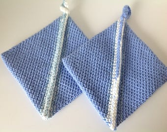 Periwinkle Blue  Potholders Crocheted Cotton - Set of Two