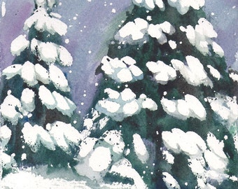 Small Format Christmas Trees- 5.5x7.5inches original watercolor painting